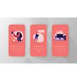 smart home mobile app page onboard screen set vector image vector image