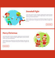 snowball fights and merry christmas characters vector image vector image