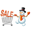 Snowman and shoppingcart vector image vector image