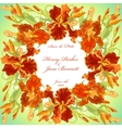 Wedding card with red iris flower wreath vector image vector image