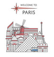 welcome to paris poster in linear style vector image vector image