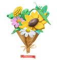 wildflowers bouquet plasticine art 3d icon vector image vector image