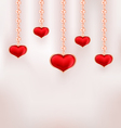 Background for Valentine Day with red hearts and vector image