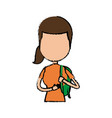 girl school student cartoon young holding backpack vector image