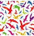 colorful polygonal birds seamless pattern vector image