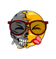 a disgusting expression with eyes glasses on face vector image