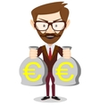 a happy young cartoon Hipster businessman with vector image