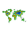 abstract paper cut world map vector image vector image