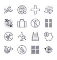 airport and plane navigation icons set icons set vector image vector image