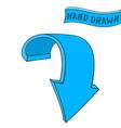 arrow blue down sign hand drawn sketch vector image vector image