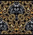 baroque seamless pattern black damask background vector image vector image