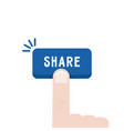 blue share button with forefinger vector image vector image