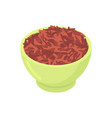 bowl of red rice cereal isolated healthy food for vector image vector image