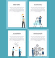 business set of posters with successful people vector image