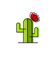 cactus with flower logo for production vector image