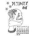 calendar with dry brush lettering december 2018 vector image