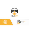 car helm and wifi logo combination vector image vector image