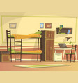 cartoon student dormitory room interior vector image vector image
