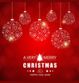 chrismtas card with red background and snow vector image