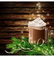 Christmas New Year design with hot chocolate vector image vector image