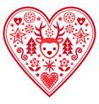 christmas scandinavian heart greeting card vector image vector image