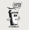 coffee to go or take away concept with vintage vector image vector image