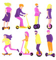 collection people on ecological transport vector image