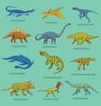 dinosaurs set jurassic animals prehistoric vector image