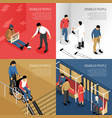 disabled people isometric design concept vector image vector image