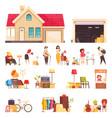 garage sale icons set vector image