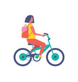 girl riding bike cartoon isolated icon vector image