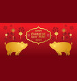 gold pig character chinese new year 2019 red vector image vector image