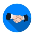 Handshake icon in flat style isolated on white vector image vector image