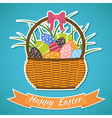 Happy Easter card Basket with Easter eggs Easter vector image vector image
