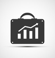 icon briefcase with financial charts vector image