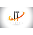 it i t letter logo with fire flames design and vector image vector image