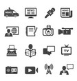 journalism and broadcasting black icons set vector image vector image