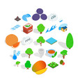 landscaping icons set isometric style vector image vector image