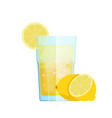 lemon lemonade with ice and lemon fruitsglass vector image vector image