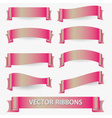 light pink various curved empty ribbon banners vector image vector image