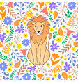 lion and tropical flowers vector image vector image