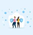 man and woman fighting coronavirus cells vector image vector image