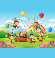 many monkeys in party theme in nature forest vector image