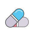 medical drug capsule linear icon vector image