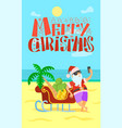 merry christmas santa claus sleigh bananas grape vector image vector image