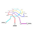 metro map sign color thin line card vector image vector image