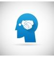 Partnership Symbol Handshake in Head Silhouette vector image vector image
