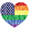 Poly art american flag with rainbow vector image vector image