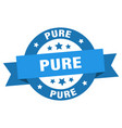 pure ribbon pure round blue sign pure vector image vector image