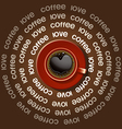 red cup of heart in black coffee vector image vector image